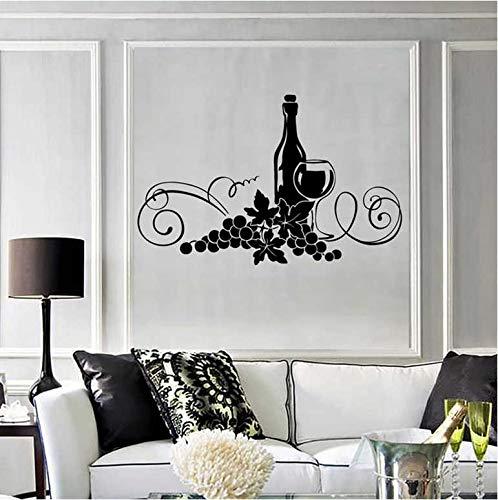 Muursticker, voor wijn, restaurant, keuken, elegant, muurstickers, vinyl, wijnglas, 57 x 37 cm