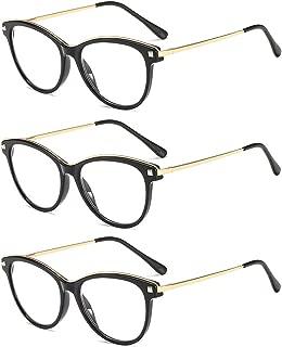 SUERTREE 3 Pack Spring Hinge Anti Glare Reading Glasses Metal Frame Computer Glasses Comfort Eyeglasses BM311