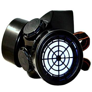 TrYptiX Men s LED Black Framed Steampunk Gas Mask  One Size White Lights W/Dust Filters
