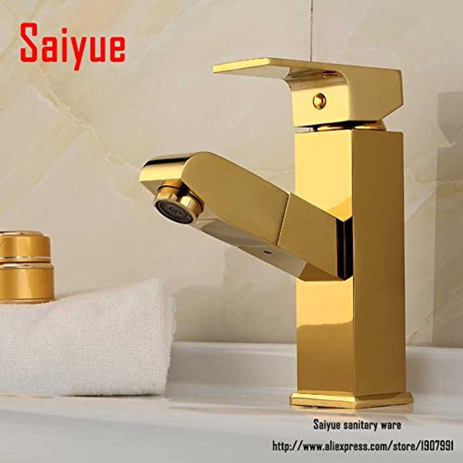 Maifeini Deck gold Surface Pull Out Kitchen And Bathroom Faucet Basin Mixer Taps