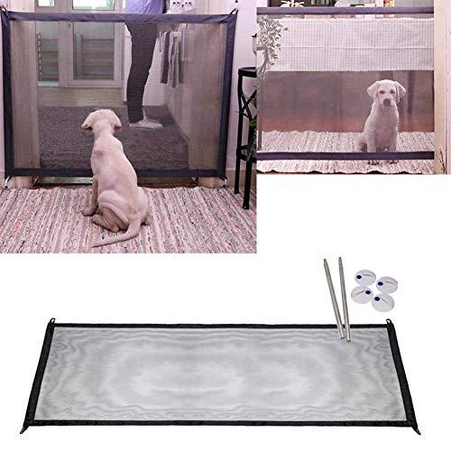 MEYLEE Magic Dog Gate Portatile Pieghevole Guardia Sicura E Installare Ovunque, Recinzione di Sicurezza per Cani Cane Cancello per Cani Recinzioni per Bambini (Nero)