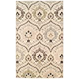 SUPERIOR Designer Augusta Collection Area Rug - Modern Area Rug, 8 mm Pile, Scalloped Floral Design with Jute Backing, Beige, 8' x 10'