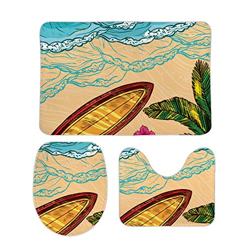 Yilooom Beach and Surf Board 3-Piece Set of Non Slip Bath Rugs Including Bathroom Mat Contour Mat Toilet Lid Cover Home Doormat 20 X 32 Inch