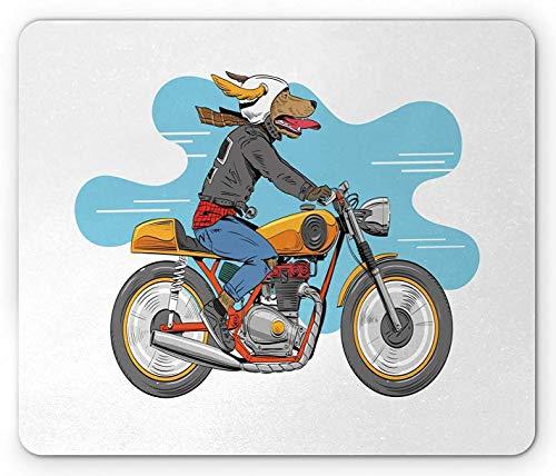 Motorrad Mauspad, Cartoon-Stil lustiges Hund Reiten klassisches Fahrrad mit Jacke handgezeichnete Illustration, Standardgröße Rechteck rutschfeste Gummi Mousepad, mehrfarbig