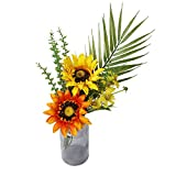 Lameeeei Artificial Sunflower Flowers Silk Real Touch Fake Sunflower Flowers with Durable Vase for Home Bridal Wedding Party Festival Decoration(Sunflower Bouquets)