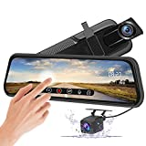 AWESAFE 10 Inch Mirror Dash Cam Touch Screen 1080P Rear View Mirror Camera