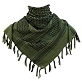 KINGREE Military Shemagh Tactical Desert 100% Cotton Keffiyeh Scarf Wrap, Shemagh Head Neck Scarf, Arab Scarf (Green)