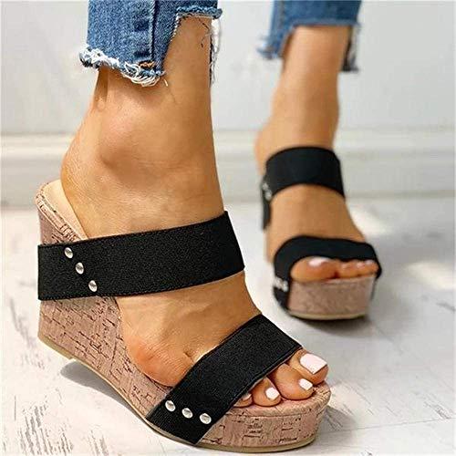 FGVBC Zapatillas de cuña para Mujer, Zapatos de tacón Alto con Plataforma Elegante, Sandalias Sexis con Punta Abierta para Mujer, Zapatos de Verano para Mujer, Zuecos-Blue_39