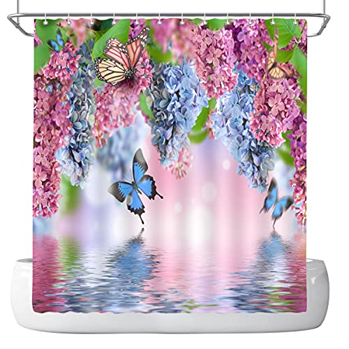 DePhoto Floral Shower Curtain for Bathroom Pink Cherry Blossom Purple Wisteria Flower Blue Butterfly Flying on The Water Decoration Accessories Polyester Fabric Waterproof with 12 Hooks 72x72 Inch
