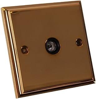 Merriway BH02737 TV Socket - Victorian Brass