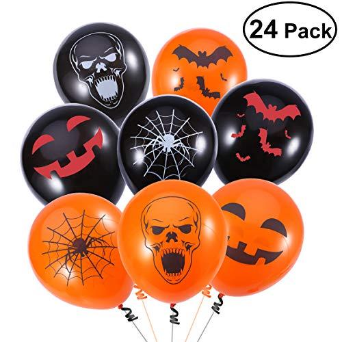 PBPBOX, palloncini in lattice per Halloween, 24 pezzi, con 4disegni, pompa manuale inclusa, decorazioni per festa di Halloween