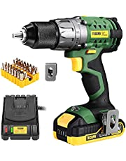 """TECCPO Power Drill, Cordless Drill with Battery and Charger(2000mAh), 530 In-lbs, 24+1 Torque Setting, 0-1700RPM Variable Speed, 33pcs Accessories Drill Set, Drill with 1/2"""" Metal Keyless Chuck"""