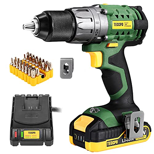 TECCPO Power Drill, Cordless Drill with Battery and Charger(2000mAh), 530 In-lbs, 24+1 Torque Setting, 0-1700RPM Variable Speed, 33pcs Accessories Drill Set, Drill with 1/2' Metal Keyless Chuck