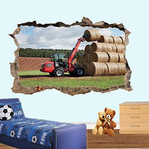 Nicoole Adhesivo De Pared Tractor Heno Herramientas Agrícolas Pegatinas De Pared Arte 3D Sala Mural Oficina Tienda Cartel