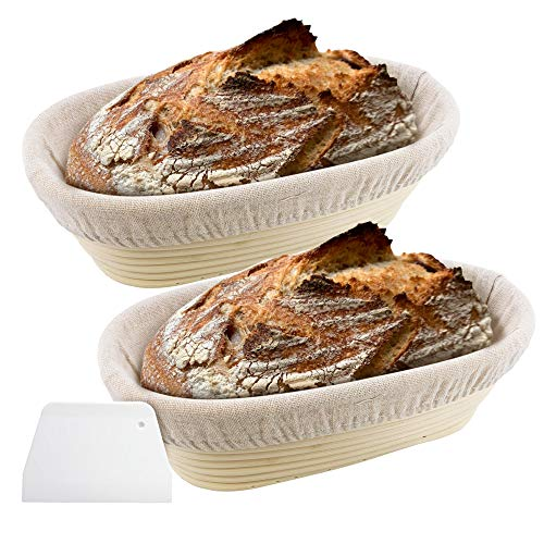 2 Pack 10 Inch Oval Bread Proofing Basket for Sourdough Bread - Bread Basket Baking Bowl With a Dough Scraper and Linen Liner Cloth Banneton Proofing Basket for Professional & Home Bakers Bread Baking