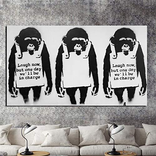 wZUN Arte de Tres orangután Pintura en Lienzo Impresiones Sala de Estar decoración del hogar Arte de Pared Pintura al óleo póster imágenes 60x80 Sin Marco