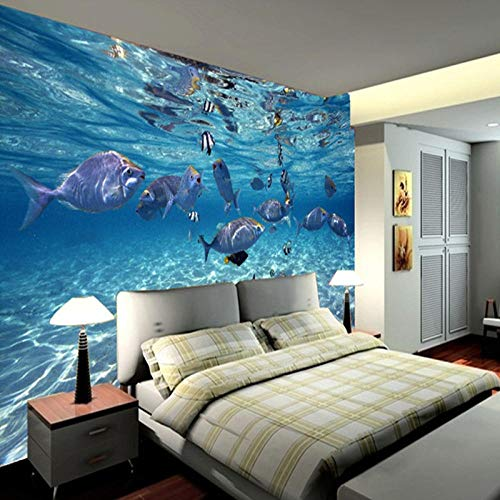 Afashiony Custom Photo Wallpaper 3D Stereoscopic Underwater World of Marine Fish Living Children's Room Tv Background 3D Mural Wallpaper-250Cmx175Cm
