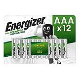 Energizer Pilas AAA Recargables, Power Plus, Paquete de 12 Uniades