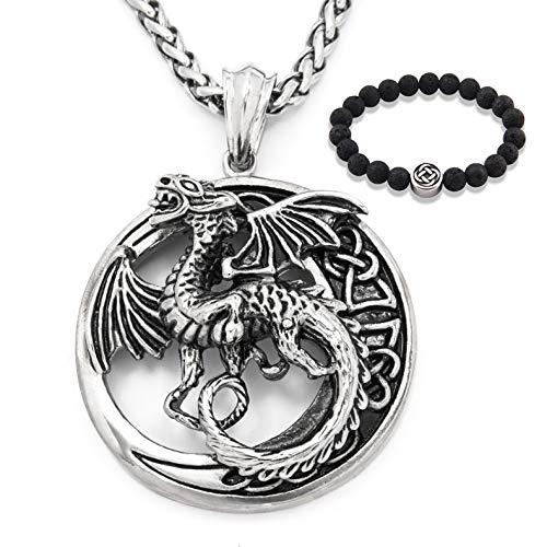 Gungneer Celtic Dragon Necklace Stainless Steel Chain Irish Pendant Amulet Trinity Knot Jewelry Gift Men Women