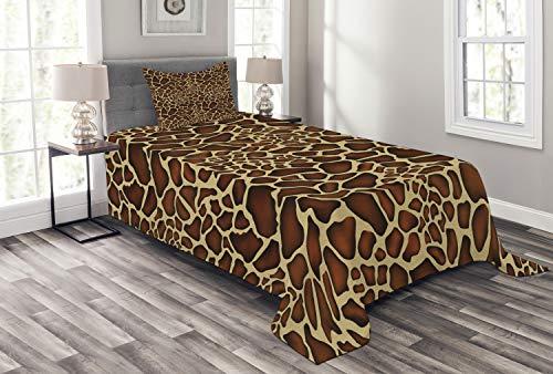ABAKUHAUS Sambia Tagesdecke Set, Giraffe Haut-Muster, Set mit Kissenbezug Sommerdecke, für Einselbetten 170 x 220 cm, Redwood Pale Yellow