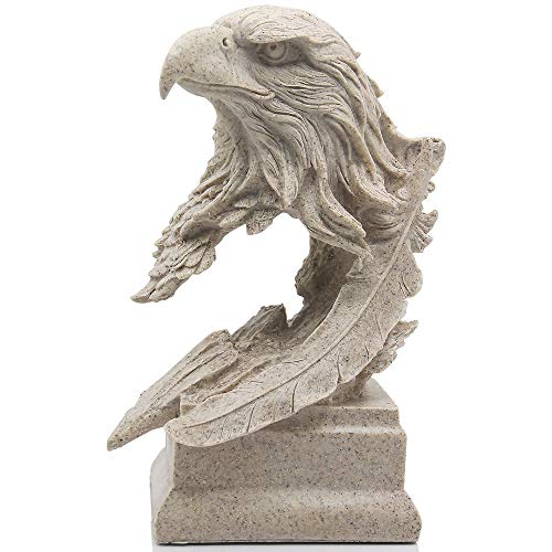 H&W Sandstone Bald Eagle Figurines - The USA's National Emblem - Statue Decoration for Home/Study/Living Room, Great Collectible Figurines, Best Gift for The Man, Sandstone Color (HH17-D4)