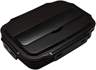 AINAAN Stainless Steel Leakproof Lunch Box,Dishwasher Safe, BPA-Free,Equipped with cutlery and suitable tote bag, 2019, Black