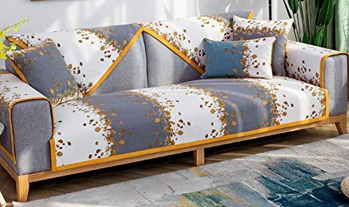 kinfuki Brazo Elástica Modelo Sofa Funda Antimanchas Chaise,Cojín Delgado Antideslizante para sofá (2 Fundas de Almohada Gratis) -Gris, 70 * 210