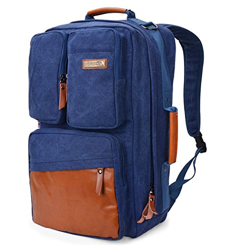 WITZMAN Vintage Canvas Backpack Carry on Travel Backpack for Men Duffel Bag Hiking Rucksack (6617 blue)