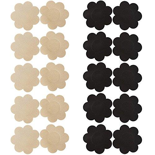 Creamlin 10 Paar Womens Sexy Pasties Einweg-Pasty Set Fleck Nippel Cover Multi Design (5 Paar schwarz & 5 Paar beige Blumenform)