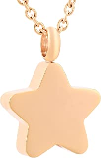 Star Urn Necklace for Ashes Stainless Steel Star Locket Cremation Ashes Pendant Necklace Keepsake Memorial Jewelry