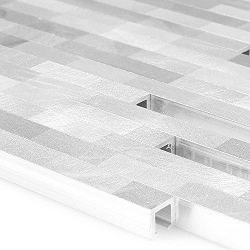 Metall Aluminium Mosaikfliesen Wishbone Silber