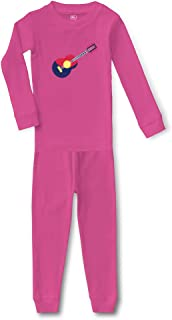 Object Guitar Cotton Crewneck Boys-Girls Infant Sleepwear Pajama 2 Pcs Set
