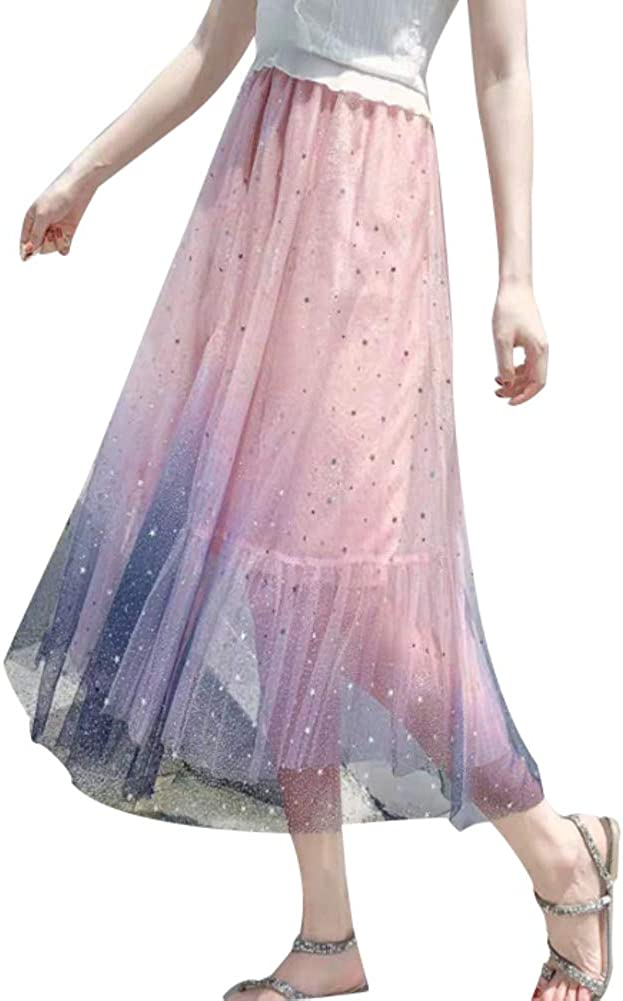 Fashion Gradient Star Sequin Tulle Tutu Petticoat Ballet Prom Evening Party Princess Long Skirt