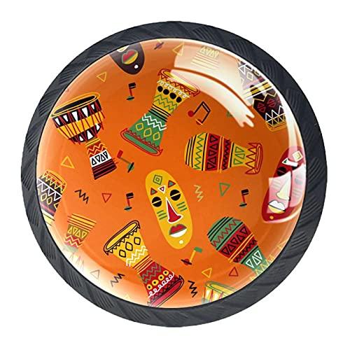Pomos de resina para cajones de África india, diseño tribal de color naranja, para armario, juego de cuatro piezas
