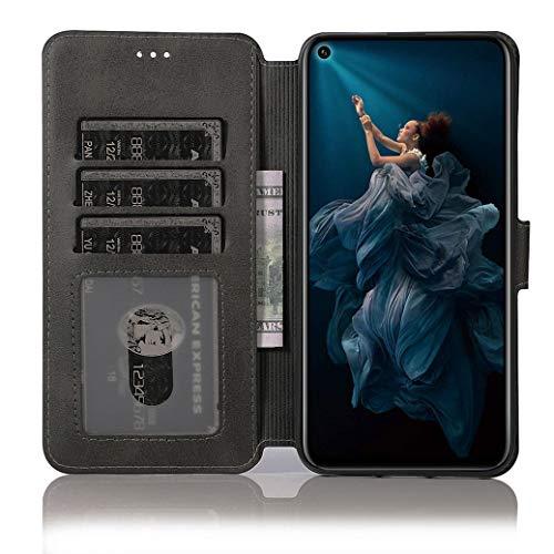 All Do Hülle für Huawei nova 5T/Honor 20 ,Premium PU Leder Flip Schutzhülle mit [Kartensteckplätze], [Ständer] [Magnetverschluss] Magnetisches Flip Wallet Case (Schwarz) - 2