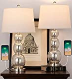 OYEARS USB Modern Table Lamps Set of 2 Antique Gourd Mercury Glass Table Lamps for Living Room (26.75' Mercury Glass Triple Gourd)