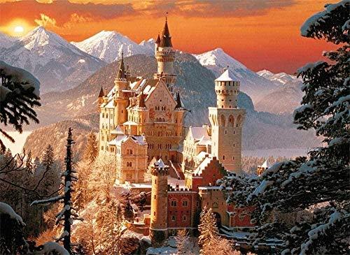 BOIPEEI Rompecabezas para Adultos 1000 Piezas Vista de Nieve del Castillo de Neuschwanstein Juegos de relajación Rompecabezas de desafío Cerebral para niños y Adultos de Madera 75X50Cm