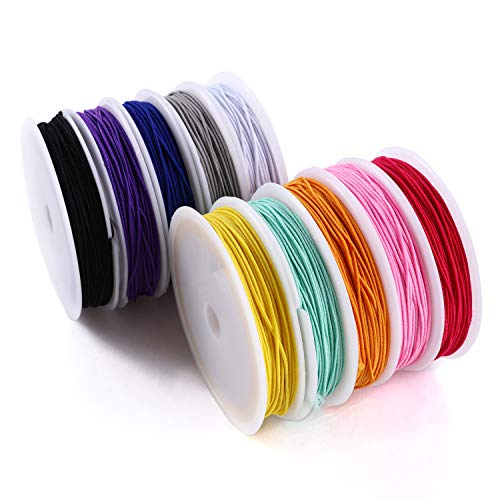 MAKERSLAND Elastic Cord for Making Jewelry 1mm 130m/142Yards 10Roll Multicolor Stretch String Beading Crafting for DIY Masks Jewelry Making Necklace Bracelet Beading Craft Thread