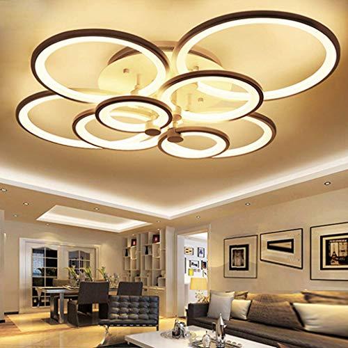 Plafón LED 120 W regulable lámpara de techo para salón moderna 8 anillos iluminación de techo mando a distancia dormitorio, iluminación de aluminio acrílico cocina comedor oficina lámpara de techo