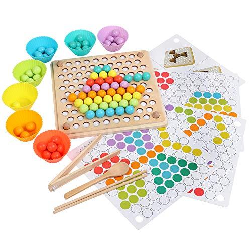 Holz Clip Beads Brettspiel, Regenbogen Korn Holzbrettspiele - Montessori Pädagogisches Holzspielzeug - Ausscheidungs Spielzeug Farbe Perlen Passende Spiele - Memory Toy Geschenk für Kinder