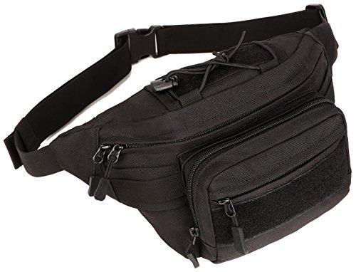 DCCN Bauchtasche Klein Tactical Hüfttasche Militär Waistbag mit 4 Fächer inkl. Reißverschluss für Outdoor Sport Trekking Wandern Running Laufen Reisen Schwarz