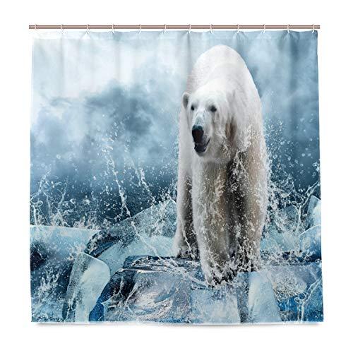 Wamika Weißer Eisbären-Jäger-Duschvorhang mit Haken, wasserdicht, für Zuhause, Badezimmer, Eis, Tier-Dekoration, Stoff, Duschvorhang, schimmelresistent, 180 x 180 cm