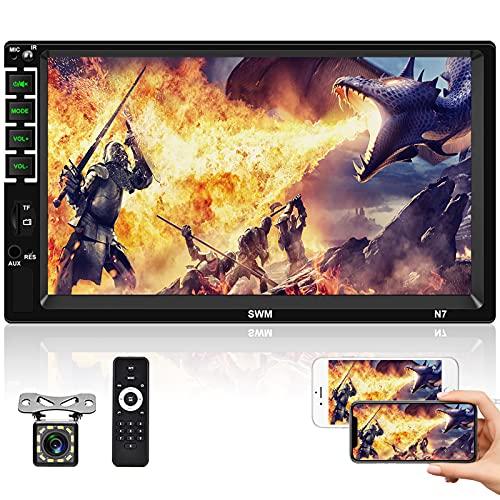 Doppio Din Autoradio 7    Lettore HD MP5 Touchscreen Display Digitale Bluetooth Car Multimedia Lettore Video con Telecamera Posteriore, Supporto Mirror-Link FM AUX USB SD