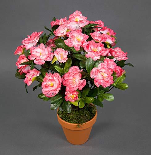 Seidenblumen Roß Azalee 34cm pink-weiß im Topf LA Kunstpflanzen Kunstblumen künstliche Blumen Pflanzen Azaleenbusch