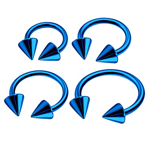 4Pcs Blue Anodized 16g 6mm 8mm 10mm 12mm Circular Barbell Earrings Piercing Jewelry Septum Nose Lip Cartilage 4mm Cone M6937