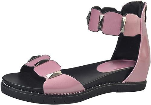 Eté fermoir perle perle sandales à bout ouvert talons bas mot après sac à fermeture éclair avec des sandales plates sandales femmes , rose , US7.5   EU38   UK5.5   CN38  sortie en vente