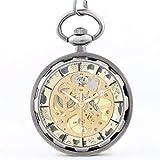 J-Love Reloj de Bolsillo para Hombres Hollow G Reloj mecánico Manual Chapado en Oro Clásico Bolsillo para Hombres Colección sin Dinero