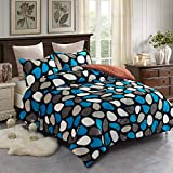 JML Fleece Blanket, 3- Pieces Sherpa Blanket - Super Soft Warm, Korean Style Reversible Printed Winter Borrego Blanket (Stone Black/Blue, King(79'x91'))