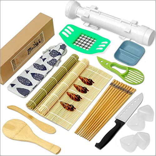 CAYOREPO 23 Pieces Sushi Making Kit for Sushi Lovers Sushi Making Kit with Sushi Bazooka Chopsticks Paddle Spreader Chopsticks Holder Dipping Plates Avocado Slicer for Beginners