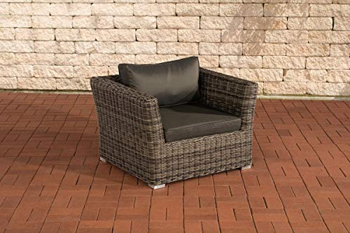 CLP - Sillón de polirratán con cojín de asiento y respaldo, ratán redondo de 5 mm, estructura de aluminio, 100 % inoxidable, color: gris jaspeado, color de la tapicería: antracita